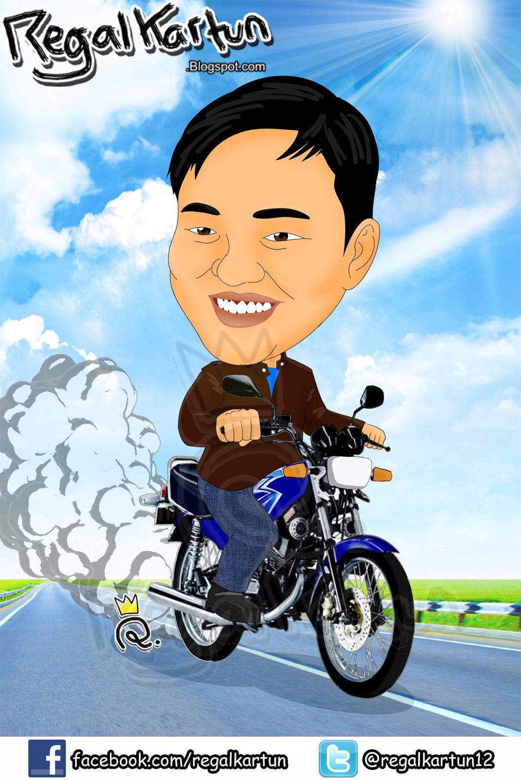 Daily Cartoon Art Illustration Karikatur Biker Yamaha Rx King