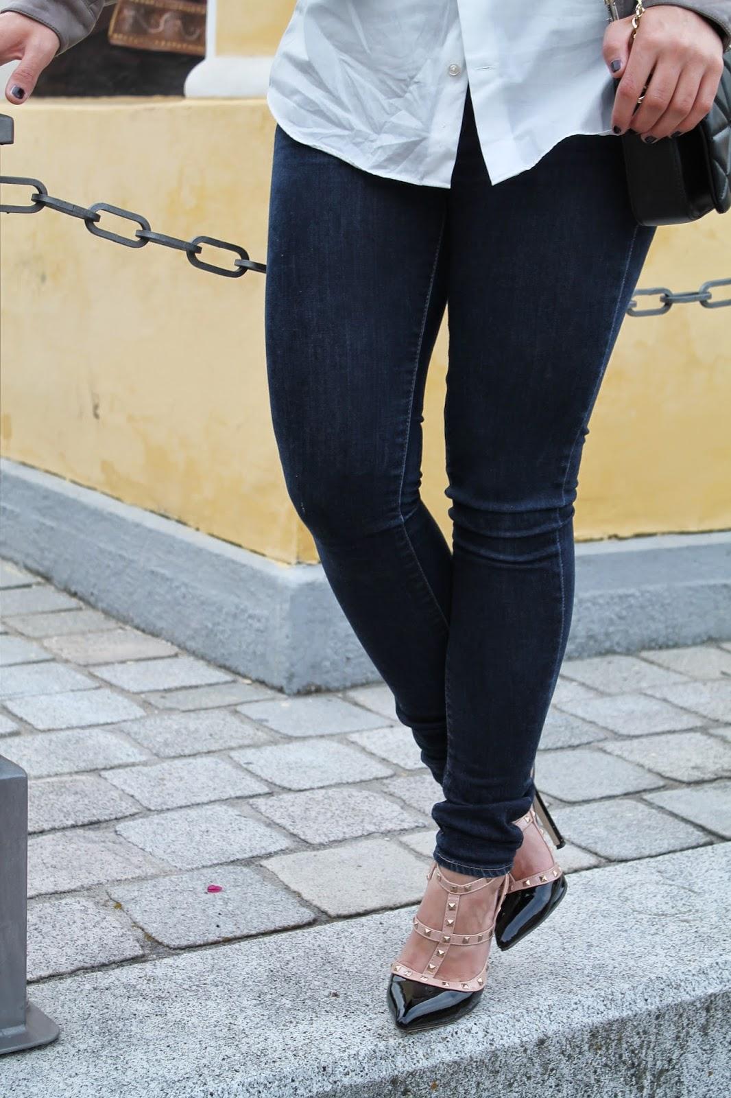 Fashionblogger Austria / Österreich / Deutsch / German / Kärnten / Carinthia / Klagenfurt / Köttmannsdorf / Spring Look / Classy / Edgy / Summer / Summer Style 2014 / Summer Look / Fashionista Look /   / valentino Studded Heels / Zara / H&M / Leather Jacket / Black Chain Crossbody Bag / Boyfriend Blouse / classic Look / Elegant / Trend/ Edgy /