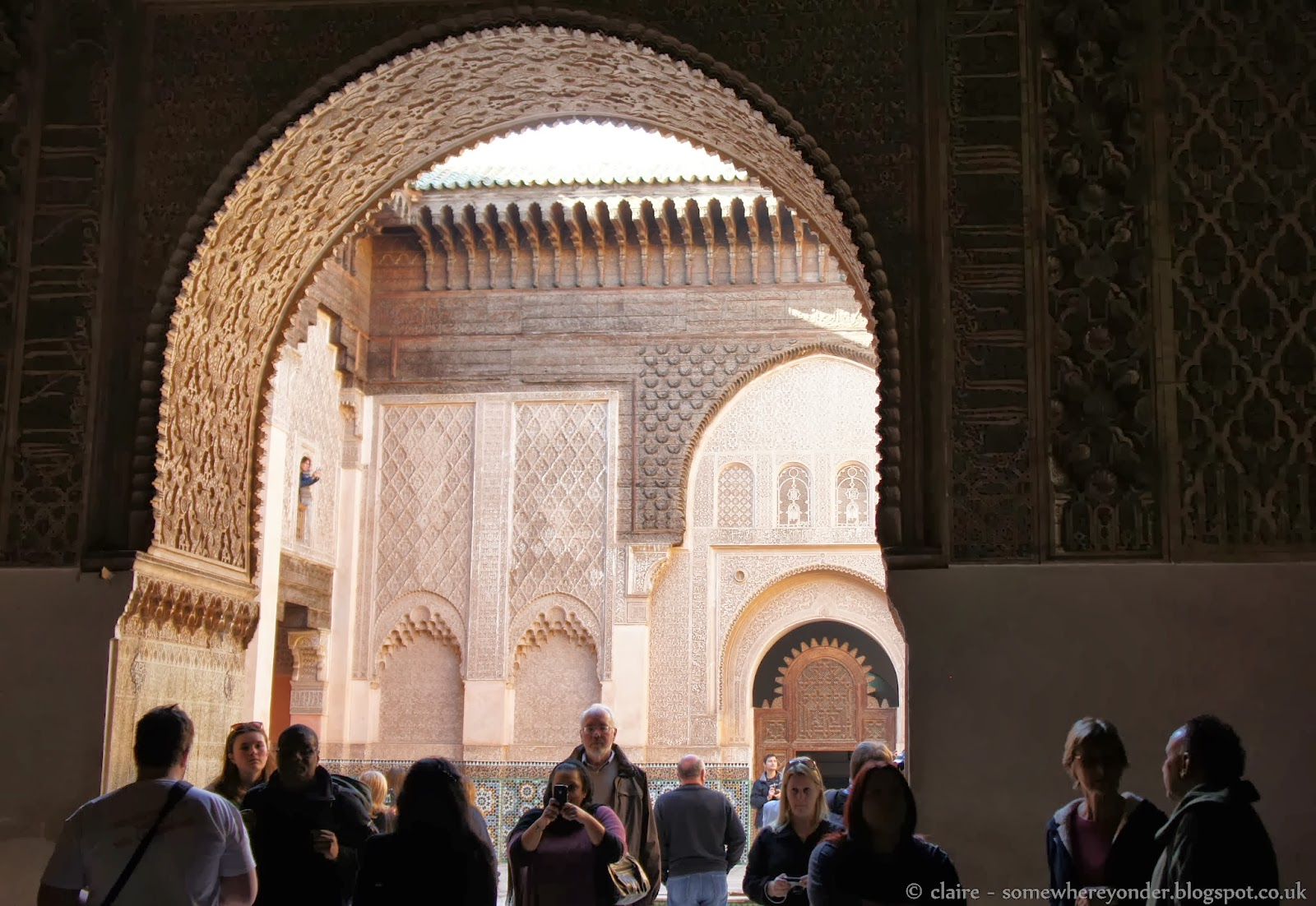 Tourists at Ben Youssef Madrasa, Marrakech