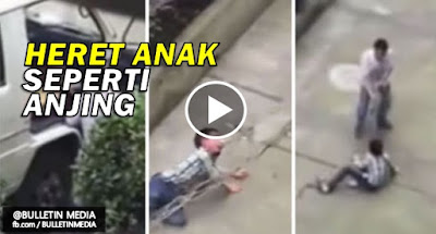 Video - Bapa dikecam heret anak guna tali di leher seperti anjing