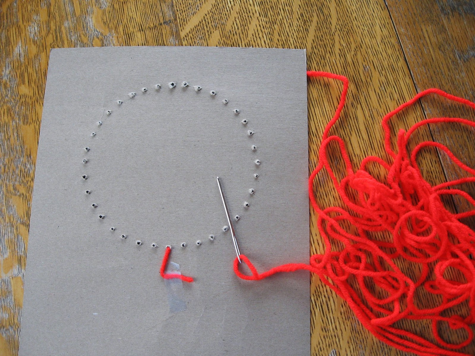 Sewing Card String Art Heart Pattern on Touch Point Math