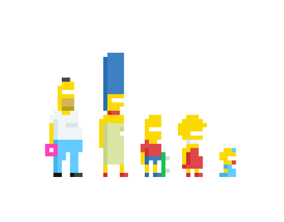 The Simpsons Family pixel art