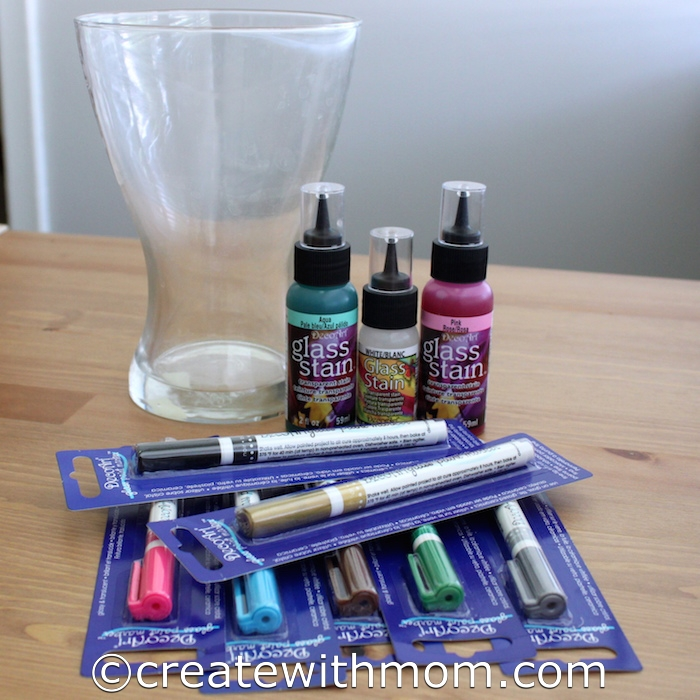 Create with mom decorative vase using decoart glass paint for Enamel paint pens for glass