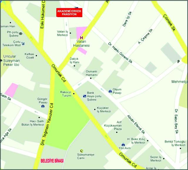 çorlu akademi pansiyon yol haritası