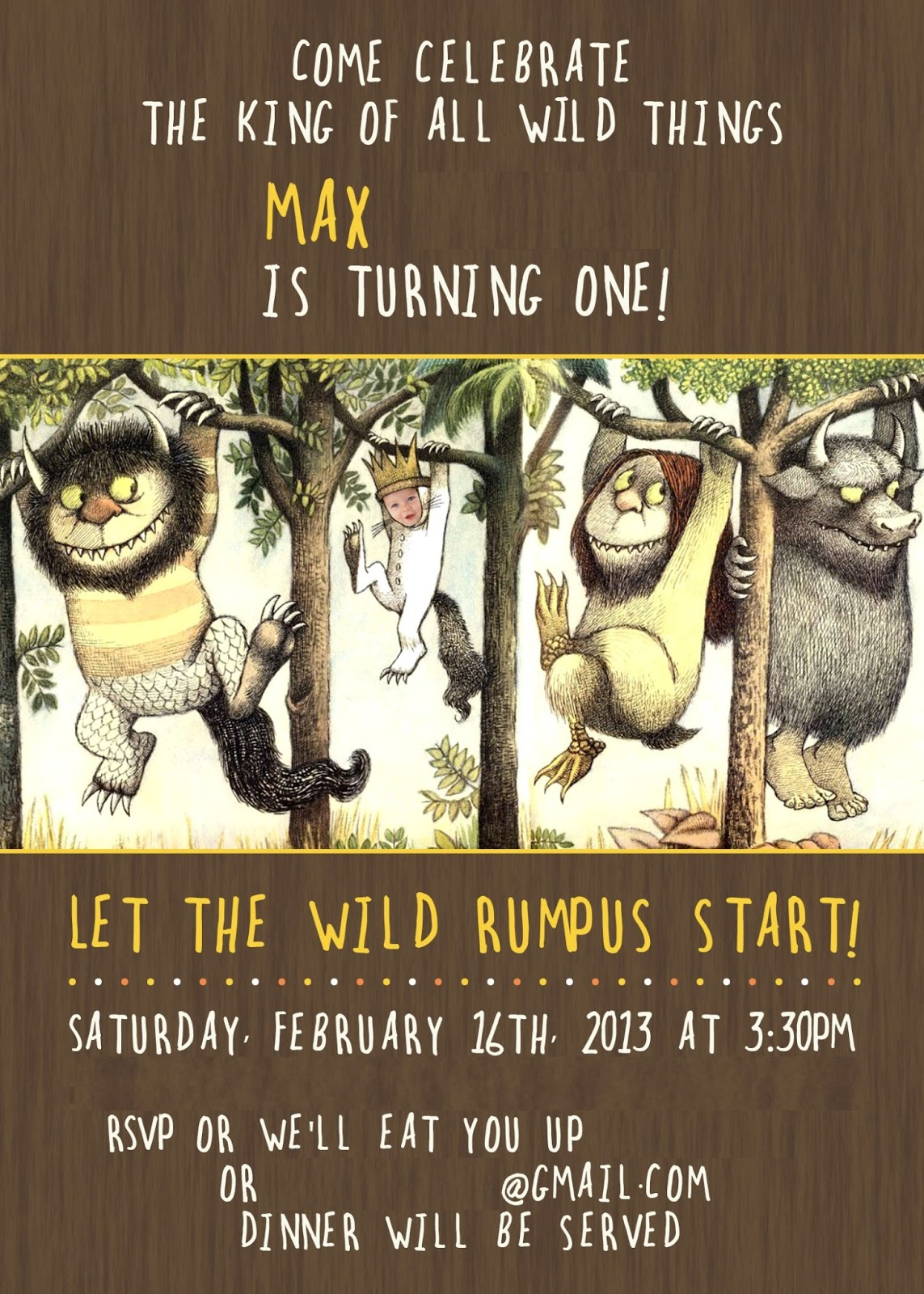 Where The Wild Things Are Baby Shower Invitations thank you for