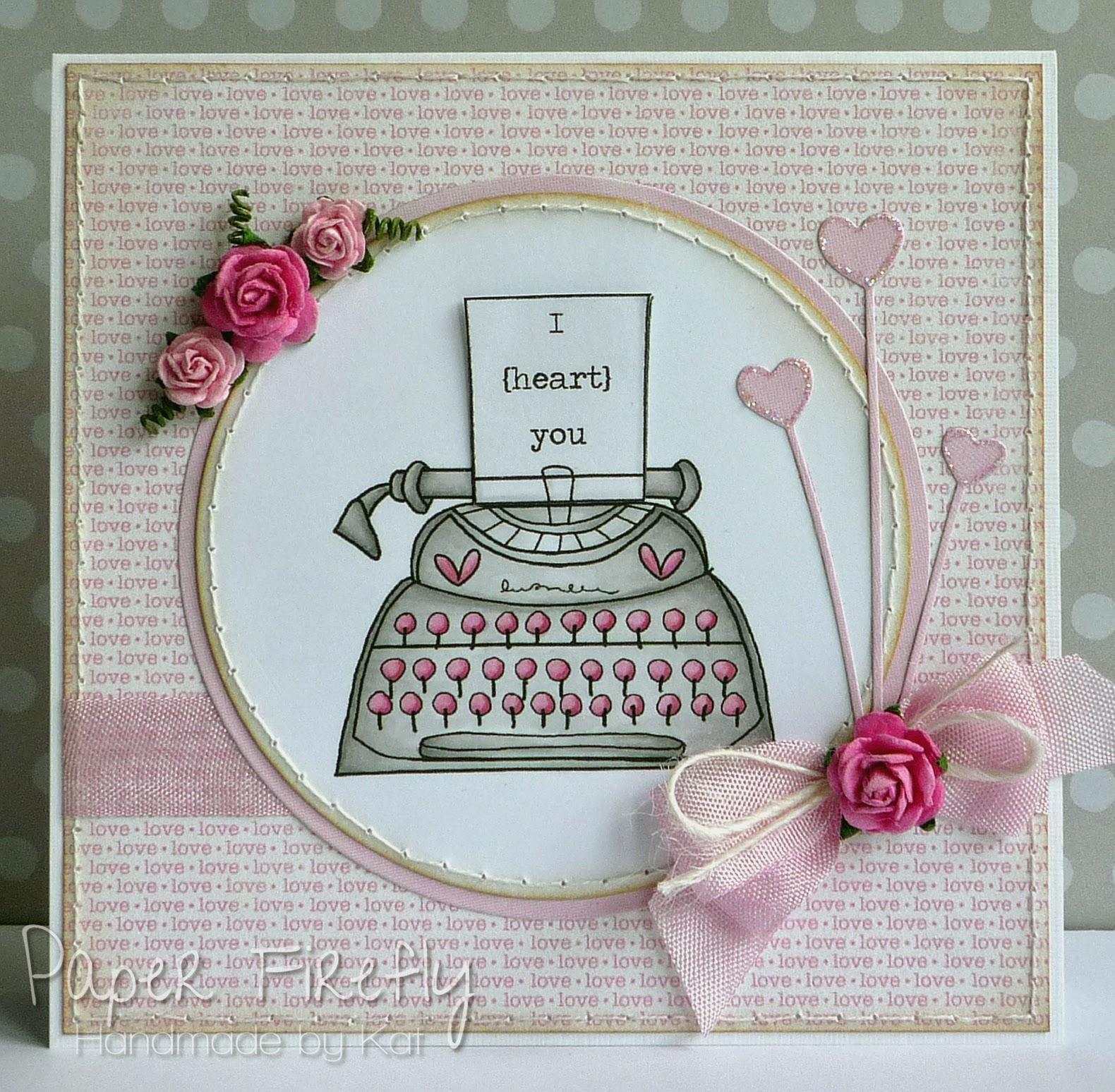 Pink typewriter love card