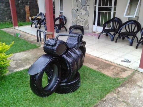 artesanato em pneus para jardim
