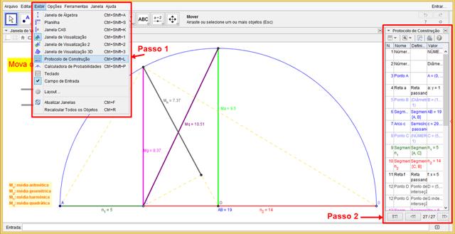 3 sugestões de aula utilizando um Applet do Geogebra sobre Médias de 2 números