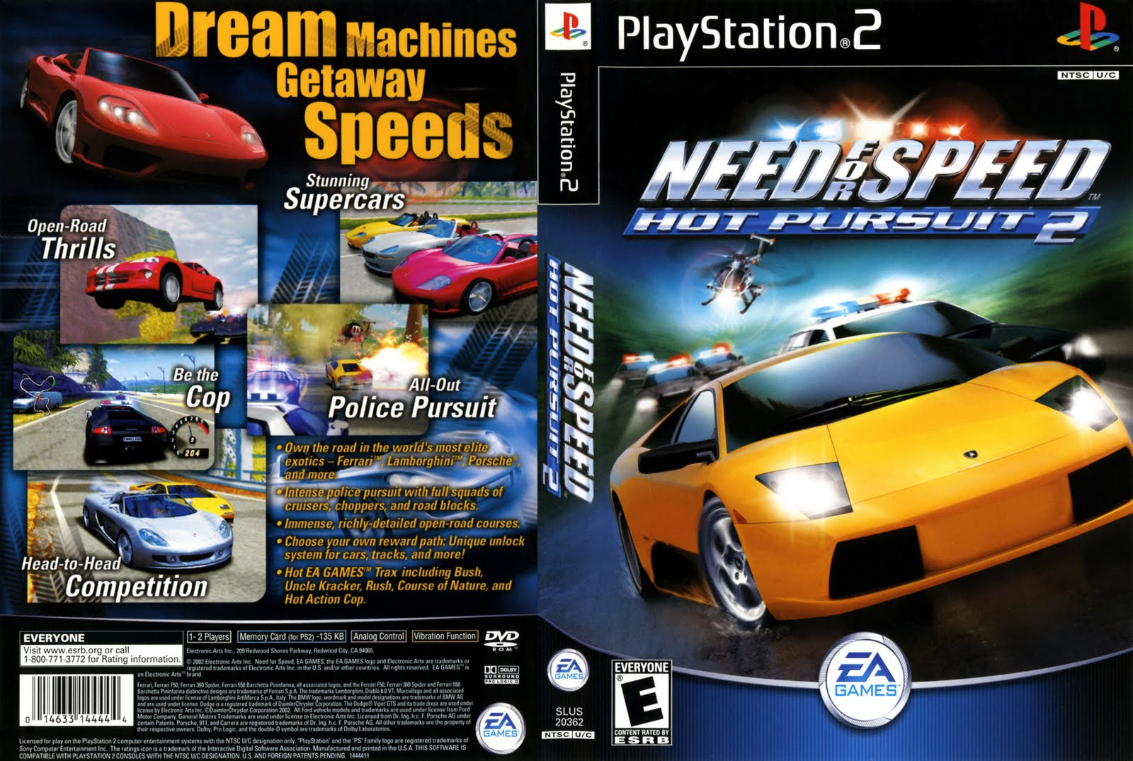 Need For Speed Hot Pursuit 2 - Playstation 2 - Ultra Capas Ps2 Need For Speed