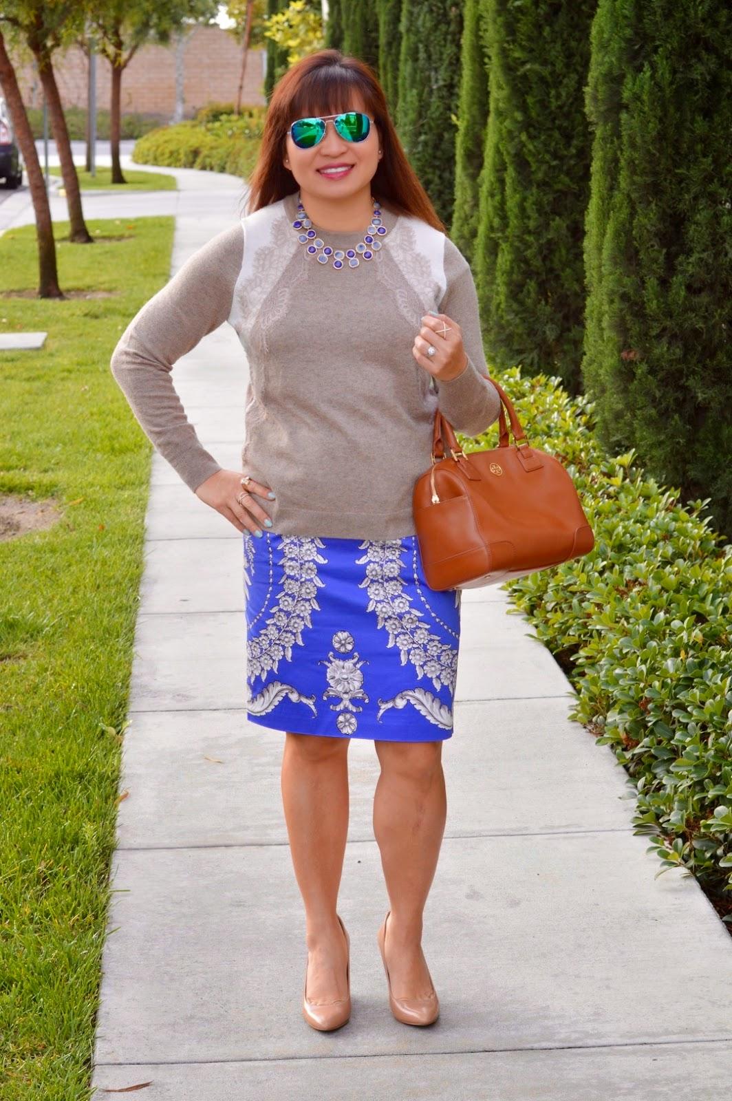 J Crew lace sweater, Anthropologie Yoana Barachi gilded estate skirt