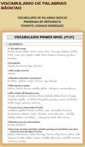 VOCABULARIO ORTOGRAFICO DE PALABRAS BÁSICAS