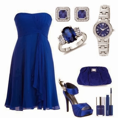 Amazing blue dress combination and accessories