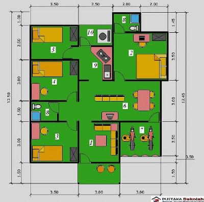 kumpulan desain rumah: denah rumah sederhana 3 kamar tidur
