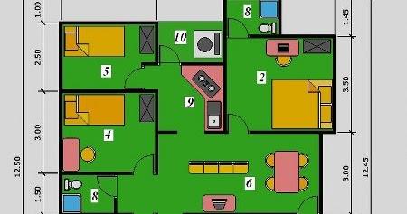 denah rumah minimalis 3 kamar tidur ~ immo digital studio