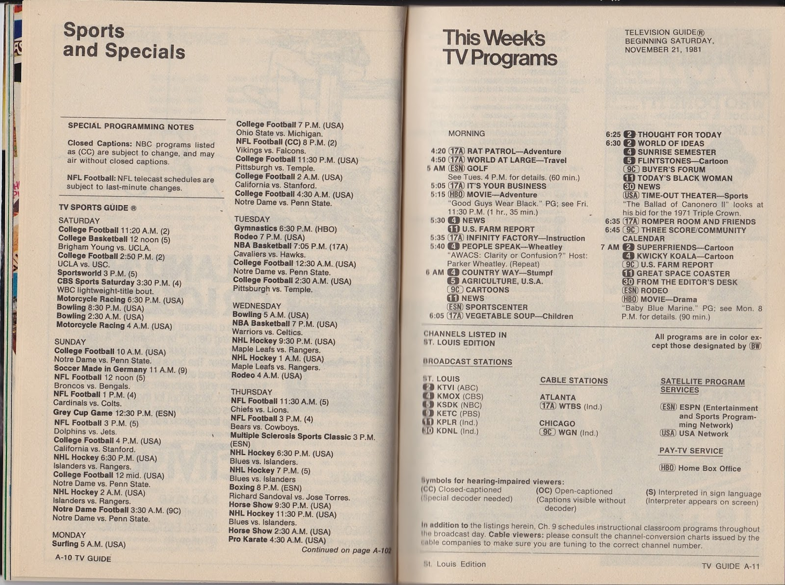 garage sale finds: what was on tv november 21st through 27th, 1981