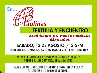 TERTULIA Y ENCUENTRO EN PAULINAS ROOSEVELT SABADO 13 DE AGOSTO CIRCULO DE LECTORES