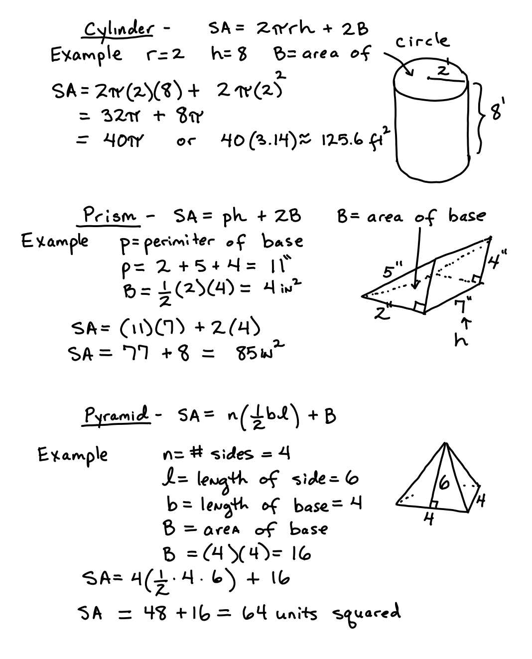Daily Objective: Students Will Learn The Surface Area Formulas For A Pyramid,  Cylinder, Cone, And Sphere