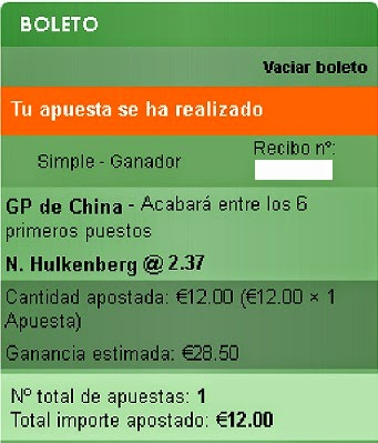 Apuestas Deportivas Rosberg Formula 1- Gran Premio de China Hulkenberg
