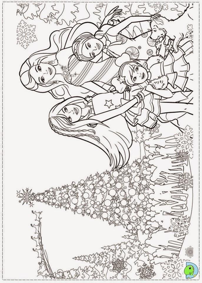 barbe um natal perfeito Desenhos para colorir - imagens da barbie um natal perfeito para colorir