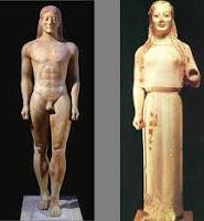 Historia de grecia antigua. Esculturas griegas. Escultura en grecia. Estatuas femeninas. Estatuas masculinas