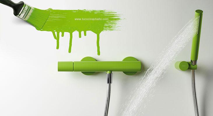 grifo verde ducha baño