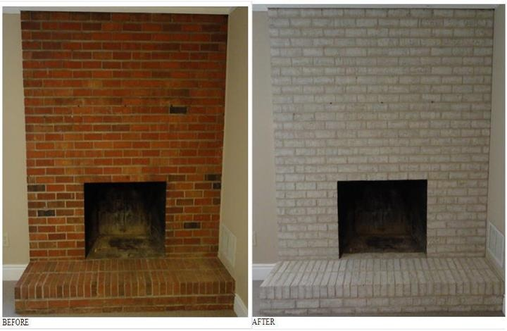 Painted Brick Fireplace Hearth