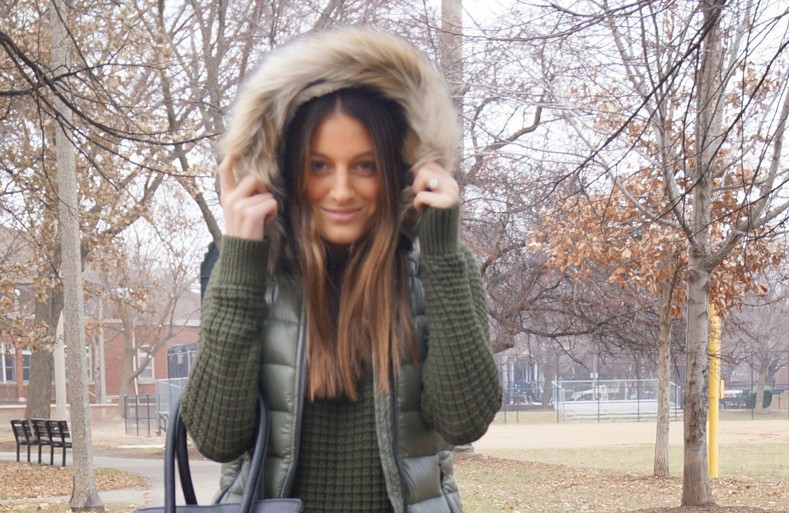 green puffer vest with fur