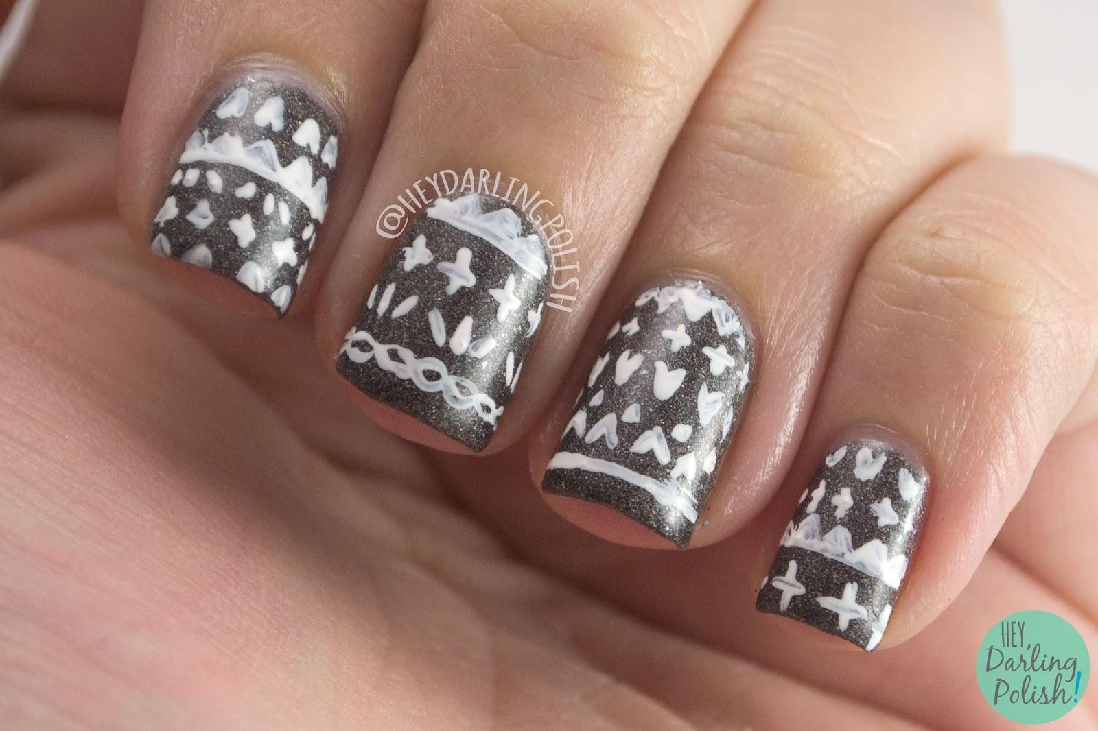 grey, dark charcoal grey, pattern, nails, nail art, nail polish, hey darling polish, black dahlia lacquer, indie polish