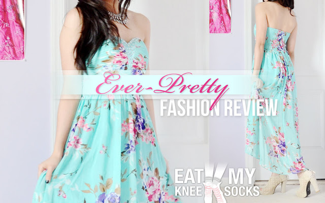 A while back, I got the chance to review a dress from Ever-pretty, an online shop that sells formal, semi-formal, and casual dresses and gowns. I picked out a floral high-low dress that's in between casual and semi-formal, with a beaded neckline, ruched bodice, and lightweight chiffon skirt.