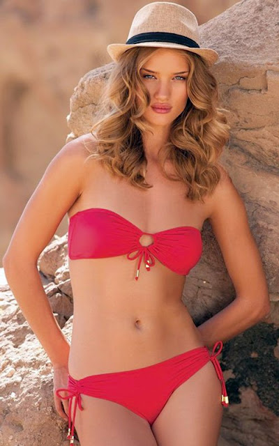 Rosie Huntington Whiteley in red swimsuit
