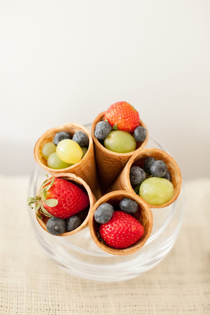 fresh fruit in sugar cones - convenient and beautifully displayed photographed by Alea Lovely