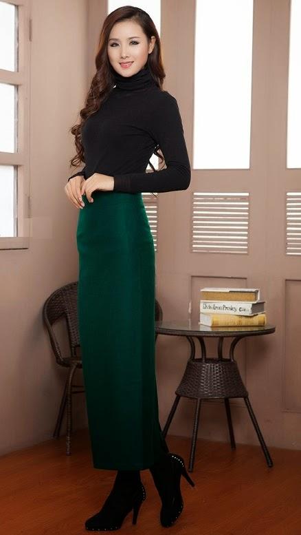 Wool-Blend Long Pencil Skirt