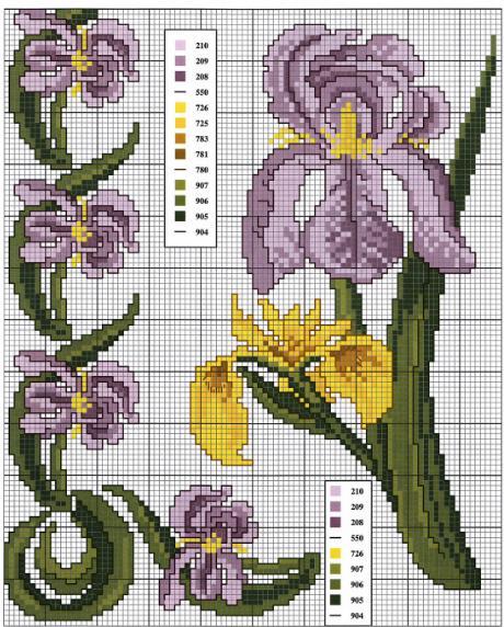 laboresdeesther Punto de cruz gratis : Flores lilas a punto de cruz