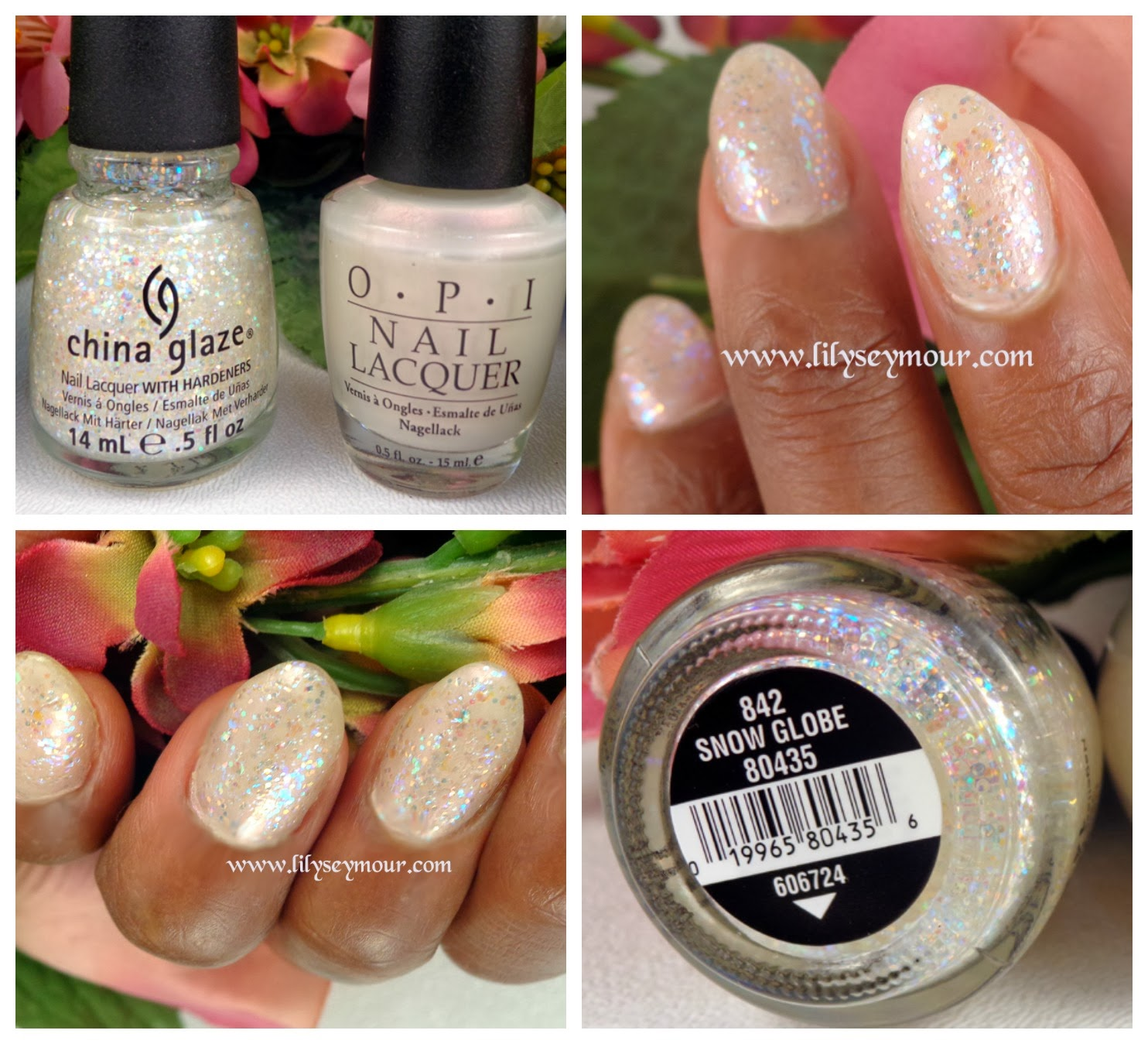 OPI Papua Pink Pearl and China Glaze Snow Globe