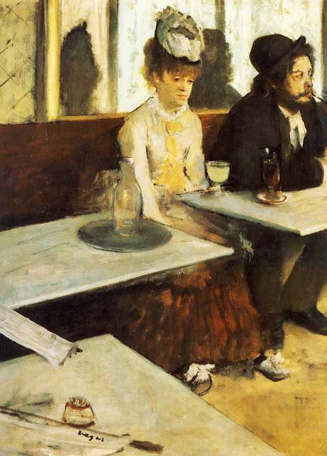 the absinthe drinker, edgar degas,painting