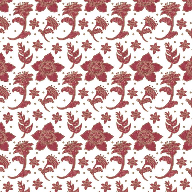 The Burgundy Batik Flowers Pattern Pattern Watercolor Illustration by Haidi Shabrina