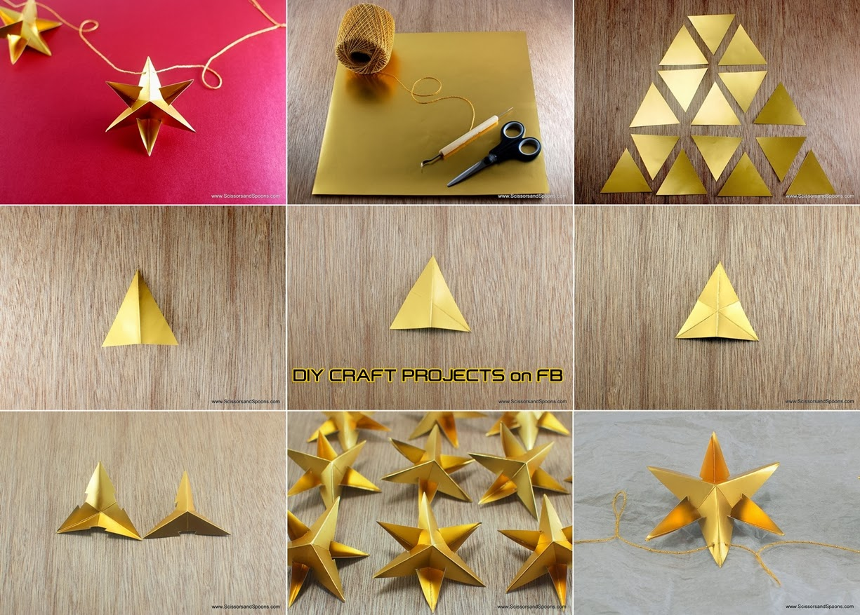Diy paper star christmas ornament diy craft projects for How to make paper christmas decorations at home