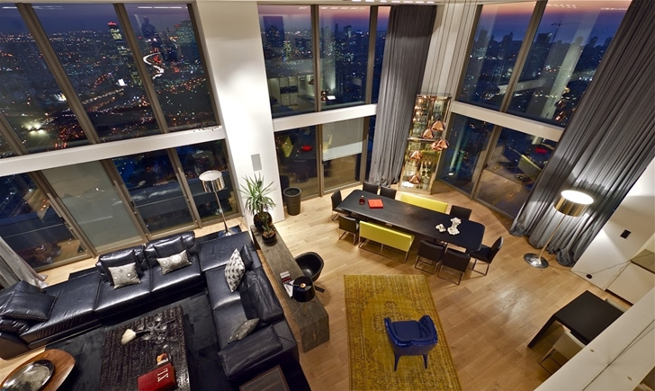 first floor of triplex penthouse apartment by pitsou kedem - Manhattan Penthouse Apartments