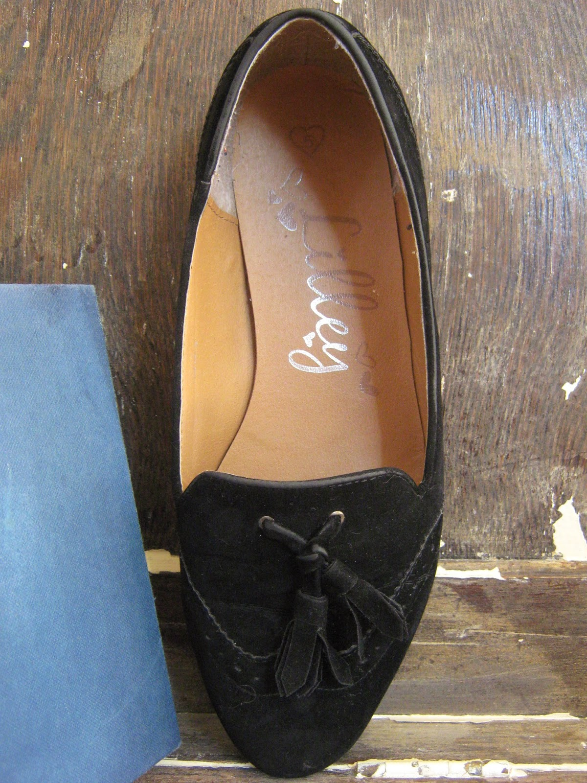 Thrifty Black Loafer Slippers