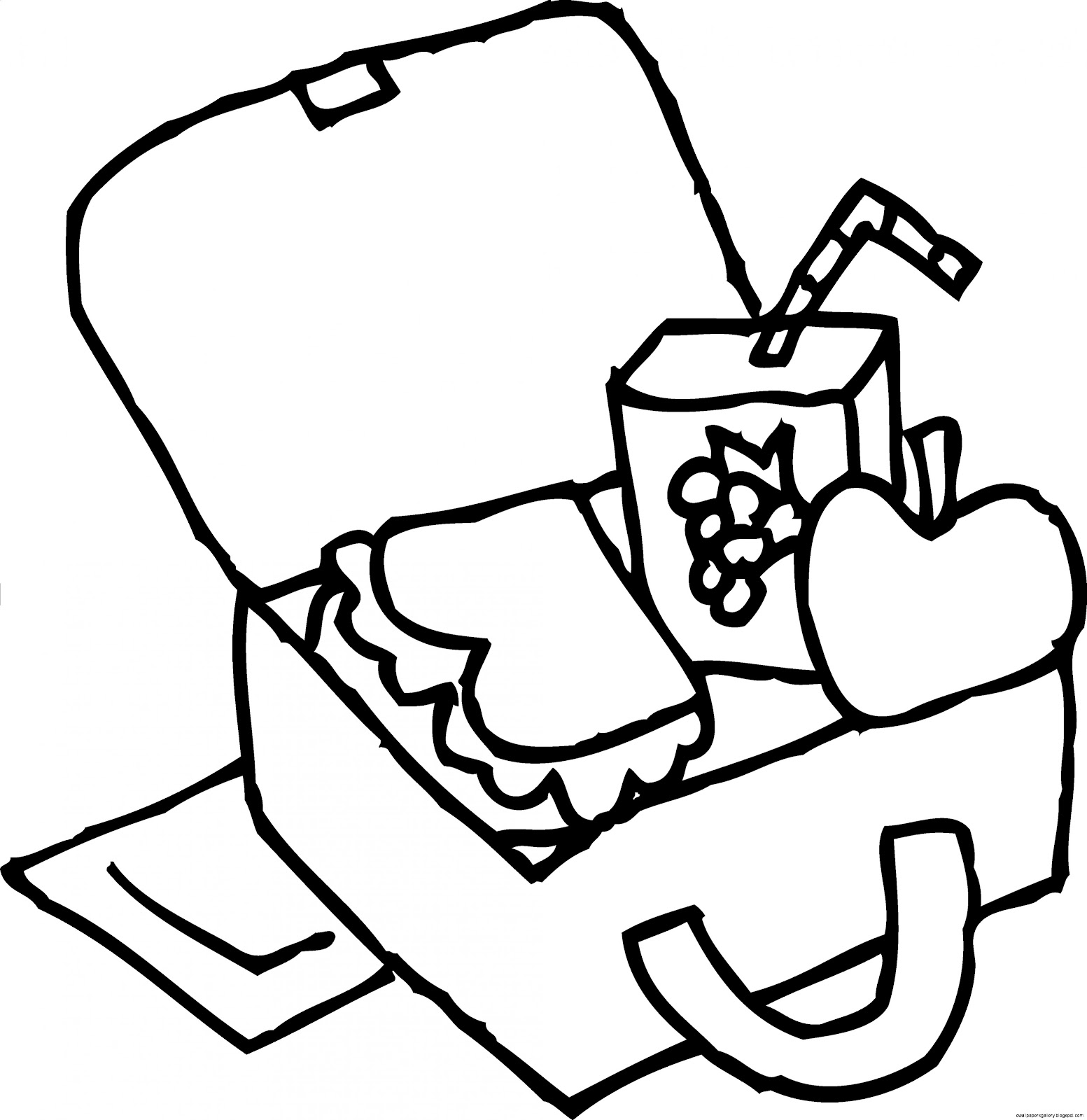 Lunch Box Clip Art Black and White