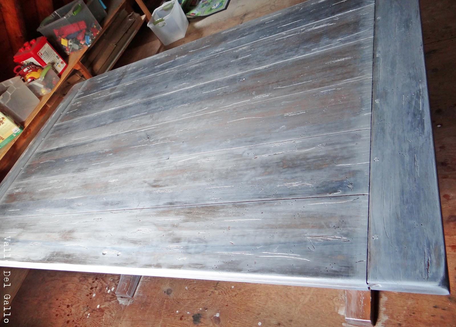 Valle del gallo mesa con tinte de vinagre y white wash - Pintar madera blanco ...