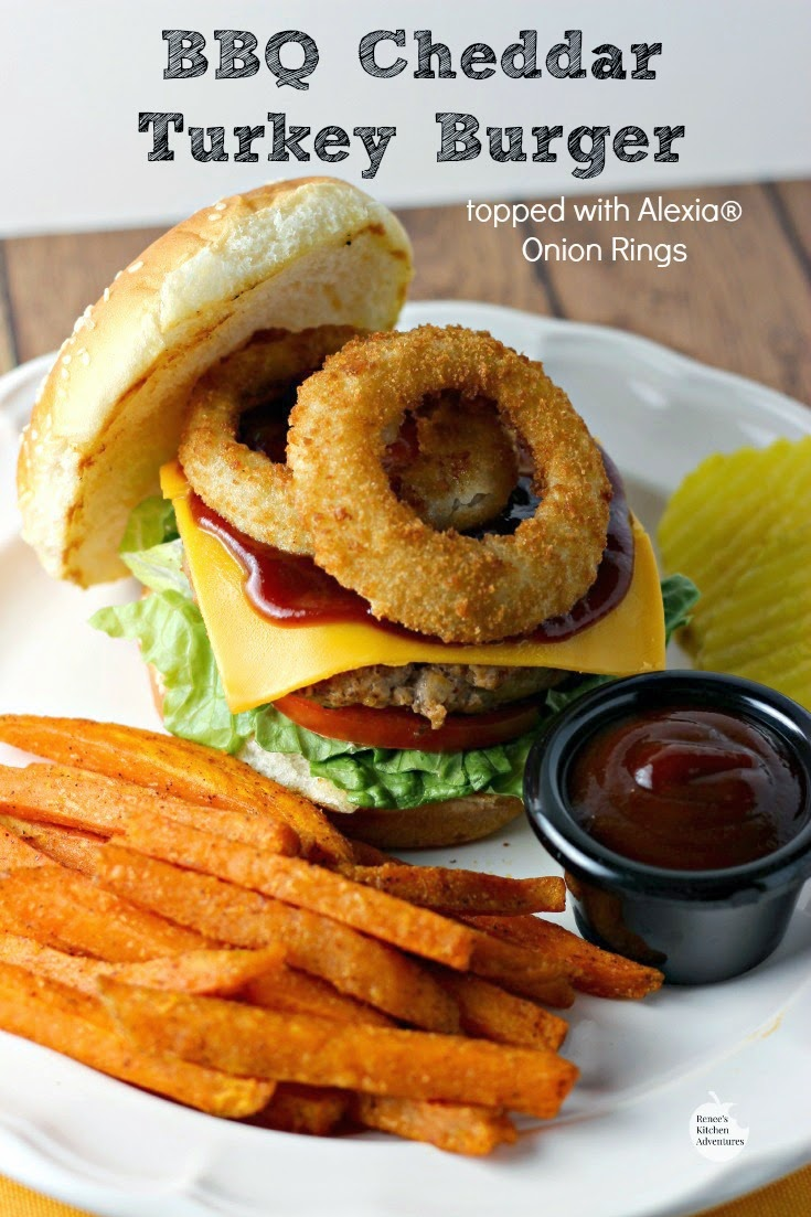 BBQ Cheddar Turkey Burgers (topped with Alexia® Onion Rings | Renee's Kitchen Adventures:  Fire up your grill NOW! #SpringIntoFlavor #ad