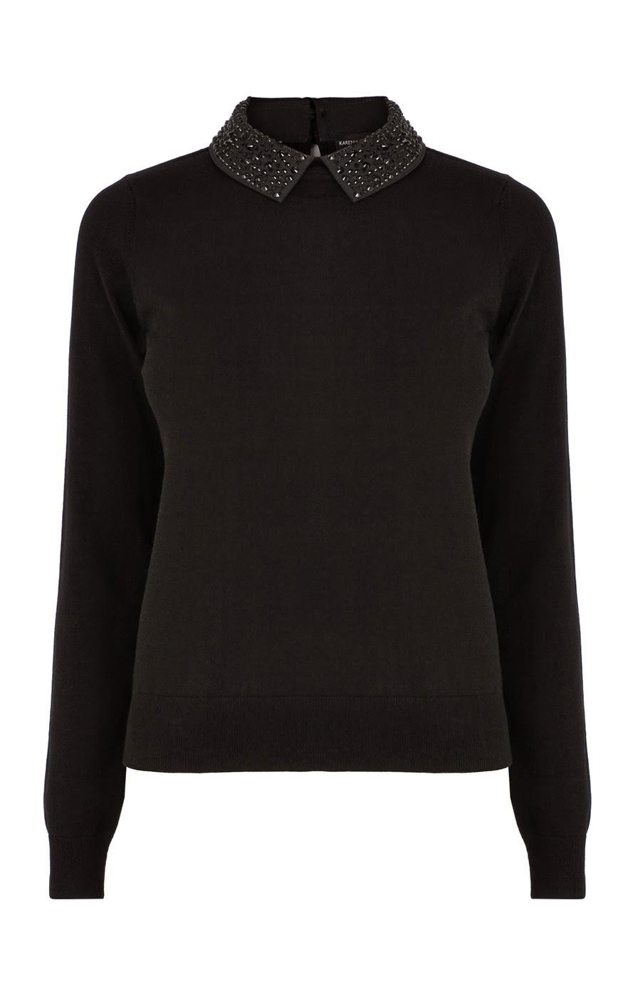 studded collar jumper, karen millen black collar jumper,