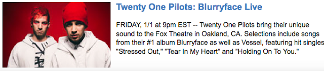 Palladia announcement of Twenty One Pilots Live Blurryface Concert Broadcast