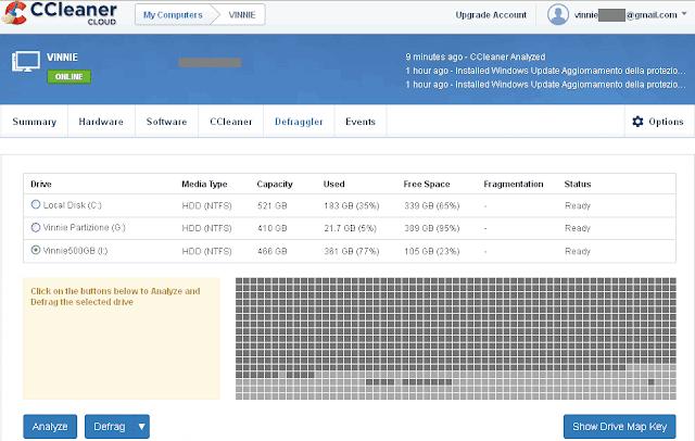 CCleaner Cloud schermata per la deframmentazione disco