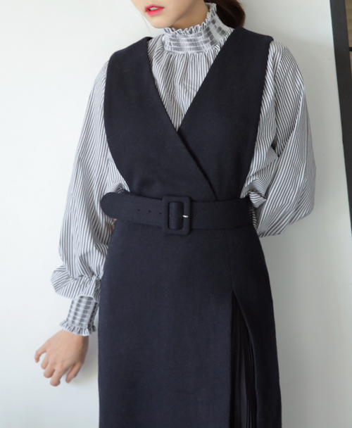 Pleated Surplice Neck Dress