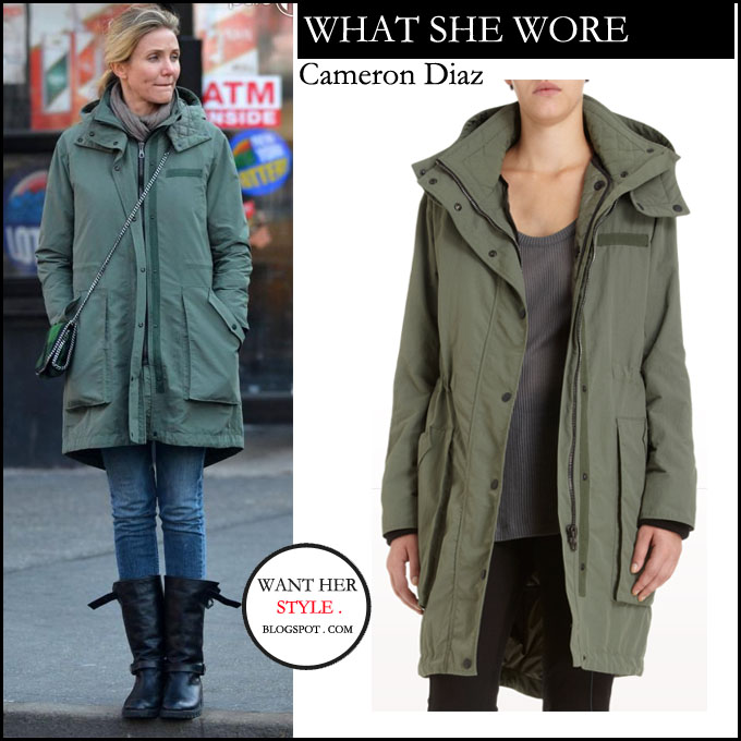 What She Wore: Cameron Diaz In Military Green Parka In New York On