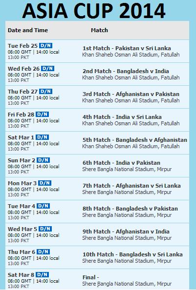 Asia Cup 2014 Cricket Schedule & Fixtures