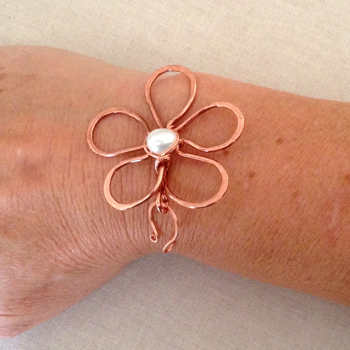 Handmade copper wire flower clasp with pearl center by Lisa Yang Jewelry