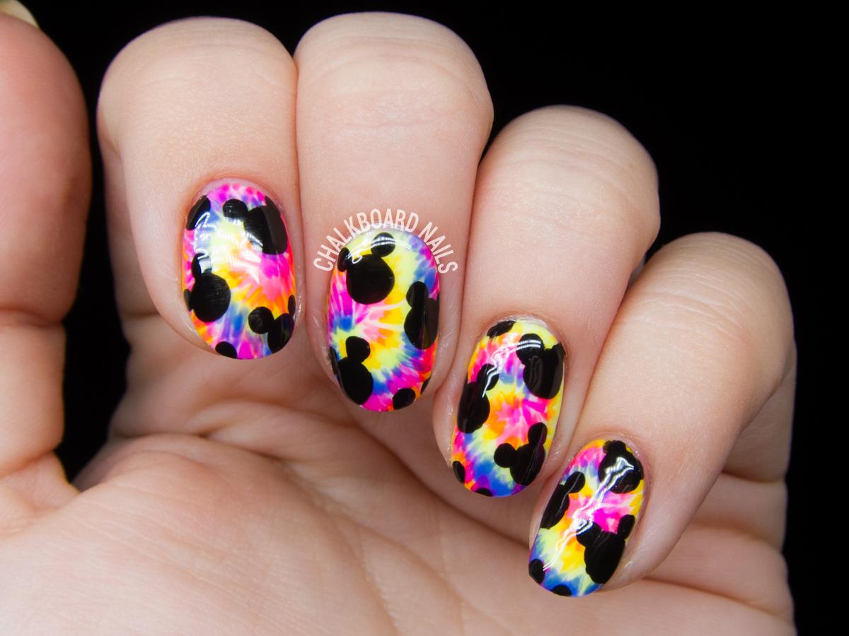 Trippy Mickeys nail art by @chalkboardnails